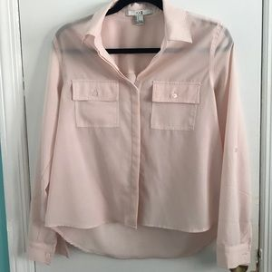 Pink Flowy Sheer Button-Up Top